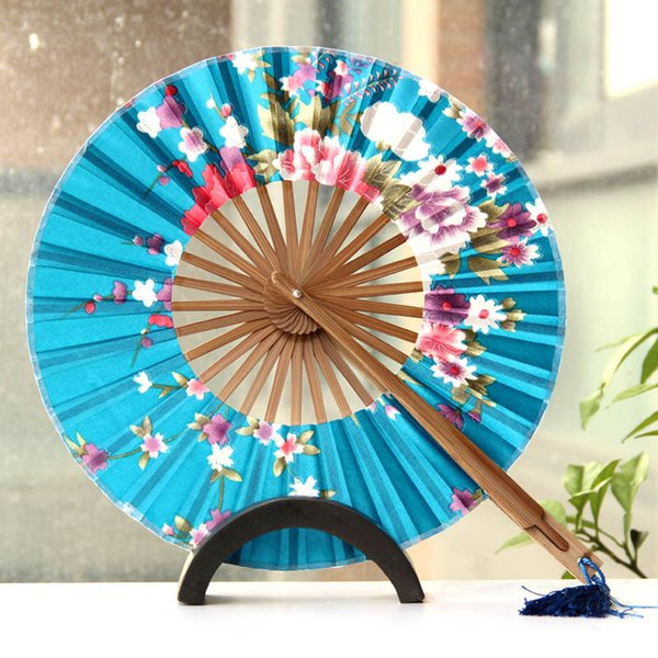 100pcs/lot Delicate Cherry Bloom Printing Folding Bamboo Fan Japanese Chinese Wedding Favors Pocket Fan Free Shipping