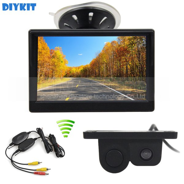 Wireless 5inch Car Monitor + Waterproof Parking Radar Sensor Car Camera Rear View Camera Parking System Kit