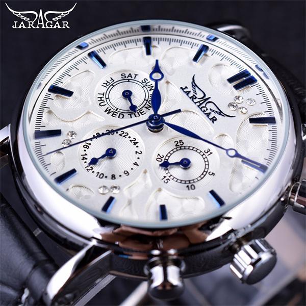 Jaragar Mens Automatic Mechanical Brand Luxury Watches Blue Sky Series Multi-fonction Elegant Designer Genuine Leather Strap Male Wristwatch