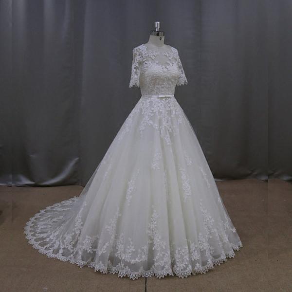 Scoop Pescoço Tule A Linha De Vestidos De Casamento Com Apliques 2019 Metade Mangas Vestidos De Noiva Custom Made Vestidos De Novia