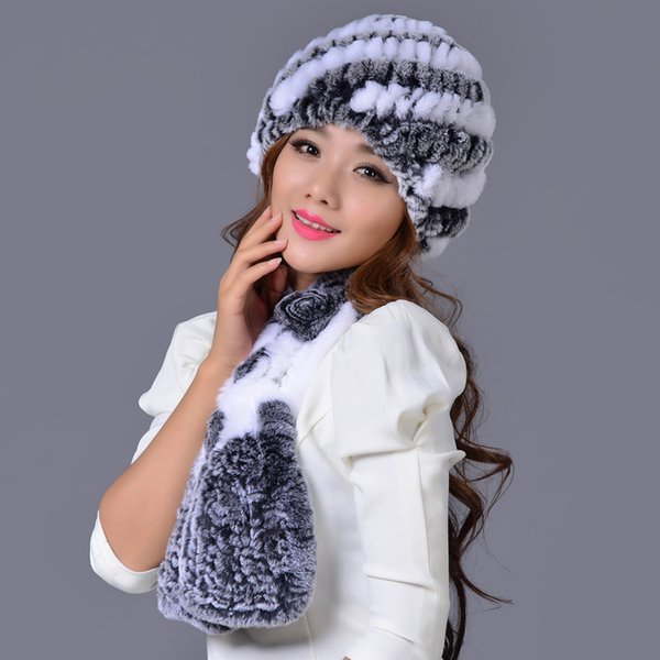 Soft natural rex rabbit fur pineapple hat, women's colors winter autumn warm handmade knitted scarf cap fur