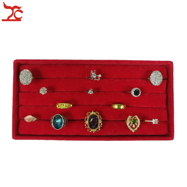 High Quality Red Velvet Small Ring Tray Case Earring Stud Cufflinks Display Box Free Shipping