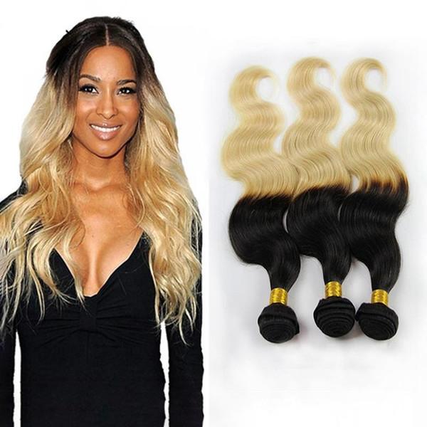 1B 613 cheveux vierges brésiliens tisse 3pcs / lot 1B Blonde vague de corps Ombre Bundles de cheveux humains Peruvian Malaysian Indian Remy Extension de cheveux