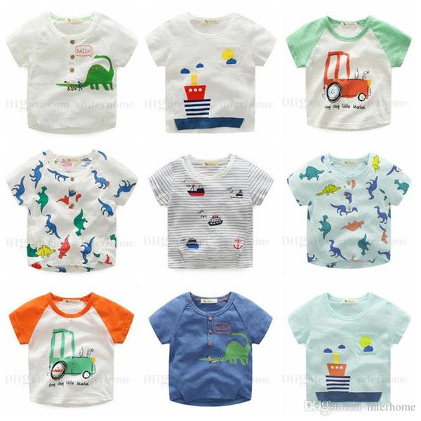 Ropa para niños Niños Camisetas Tops de algodón de verano Camisetas de rayas de manga corta Camisas para niños de dibujos animados Camisa estampada de barco de dinosaurio 13 colores H565