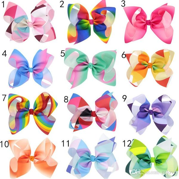 Newest JOJO rainbow color Hair Bows With Clip For School Baby Children Pastel Bow 12 Style Option