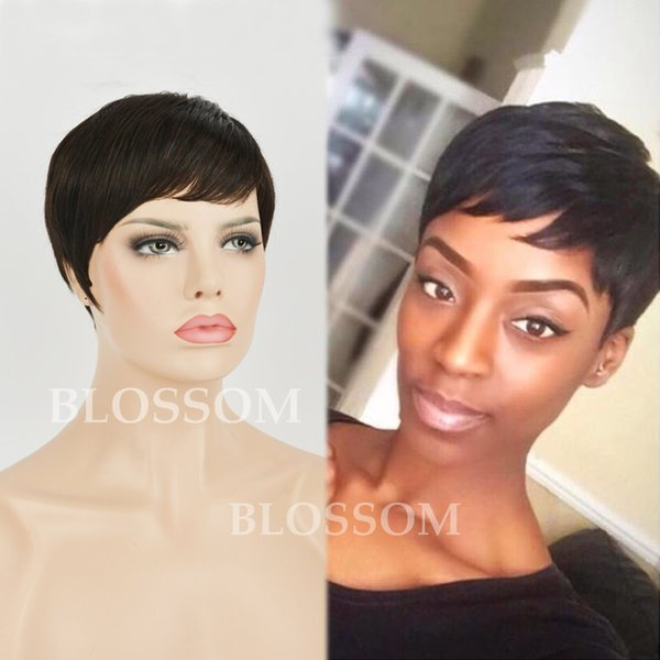 Celebrity Cheap Pixie Cut Human Brazilian Cut Hair Short Wig Natural Black Human None Lace Guleless Wig For Black Women Wigs