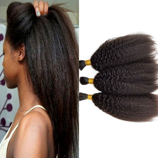 Human Hair Bulks for Braiding Peruvian Kinky Straight Hair Natural Color 3pcs Bulk Hair Extensions FDSHINE