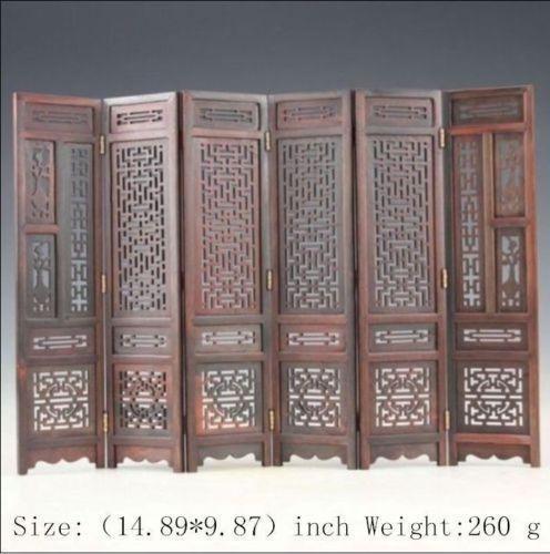 Coleção Mão-carved Chinês Boxwood Escultura Dobrável Tela gd5235