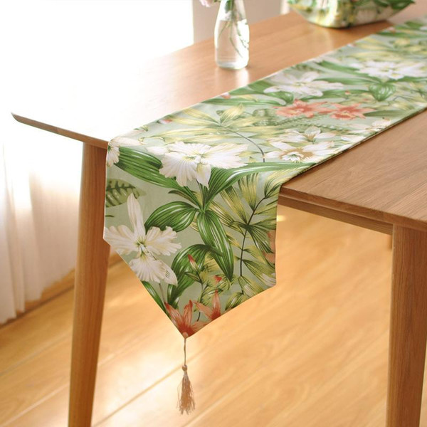 Bz390 French High Grade Cotton Table Runner Pastoral Countryside Large Flower Table Coffee Table Tv Cabinet 36 Inch Table Runner 90 Inch Table Runner