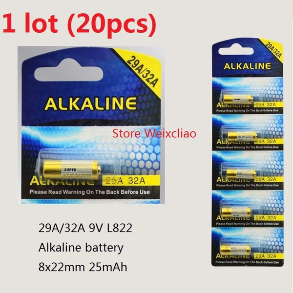 20pcs 1 lot 32A 29A 9V 32A9V 9V32A 29A9V 9V29A L822 dry alkaline battery 9 Volt Batteries Card Free Shipping