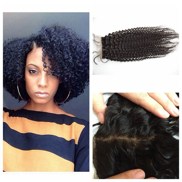 Top Closure With Baby Hair Virgin Peruvian Afro Kinky Curly Silk Base Closure Free Part LaurieJ Hair