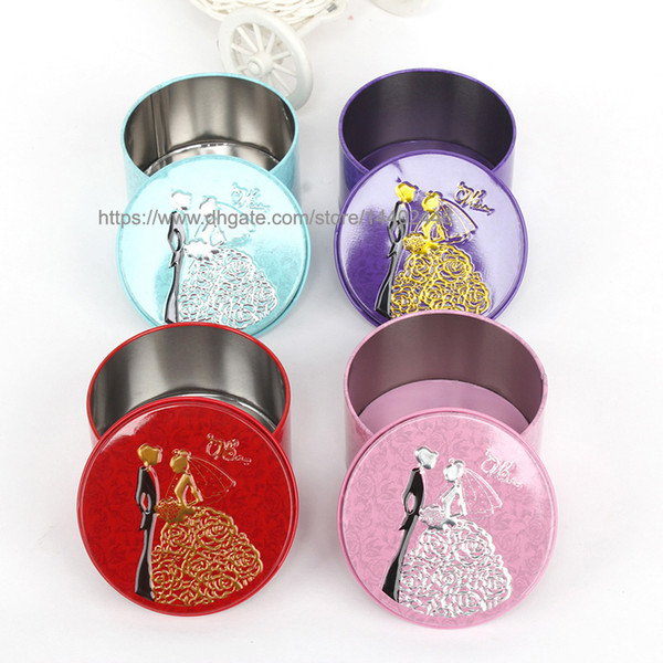 50pcs Round Shape Metal Tin Material Bride Groom Candy Box Wedding Favor Gift Favours Wedding Party Free Shipping