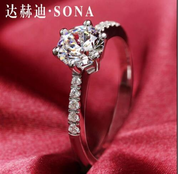 SONA Genuine Synthetic Diamond 1 Karat Ring Six Claw Wedding Proposal Silver Diamond Lovers Rings Japan-Korean Style