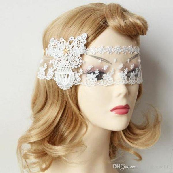 Novia Máscara de boda Sexy Venice Butterfly Eye Patch Deluxe Princesa Máscara de encaje blanco Moda Cosplay Decoración del partido