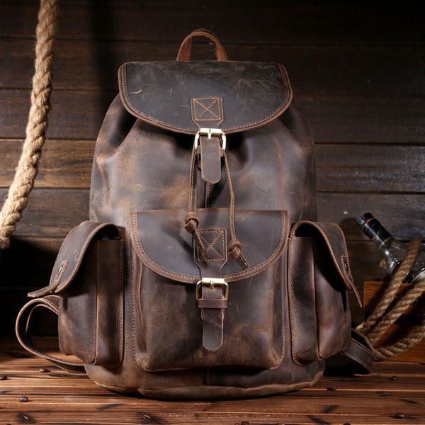 Großhandels- Qualitäts-Kuh-echtes Leder-Rucksack-Weinlese-Schultaschen für Männer Crazy Horse-Leder-große Kapazitäts-Tote-Reise-Taschen 9027
