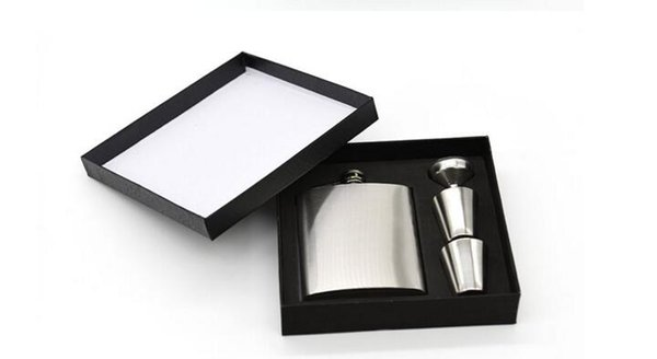 7 oz conjuntos de acero inoxidable Hip Flask jack Flagon con tazas de embudo vino Whisky Hip Flask Botella de Flagon portátil Caja de regalo Embalaje