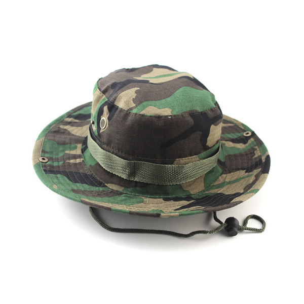 9314a1170 2019 Sports Military Camouflage Bucket Hats Jungle Camo Fisherman Hat With  Wide Brim Sun Fishing Bucket Hat Outdoor Camping Hunting Caps 7 Styles From  ...
