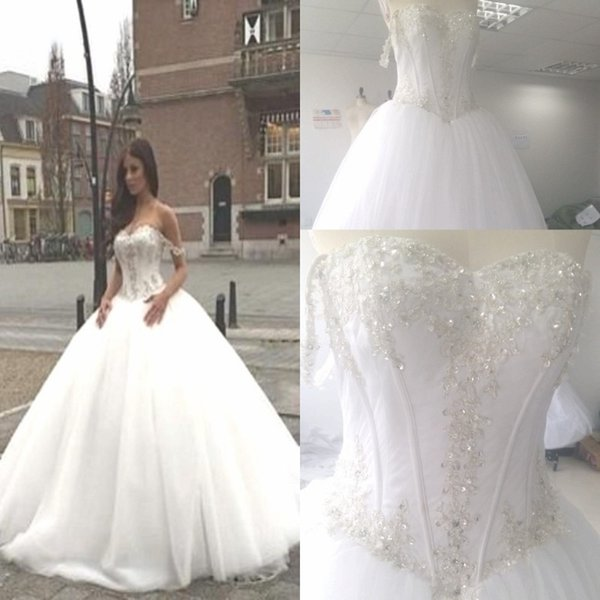 2017 Beads Ball Gown Wedding Dress Arabic Off The Shoulder ...