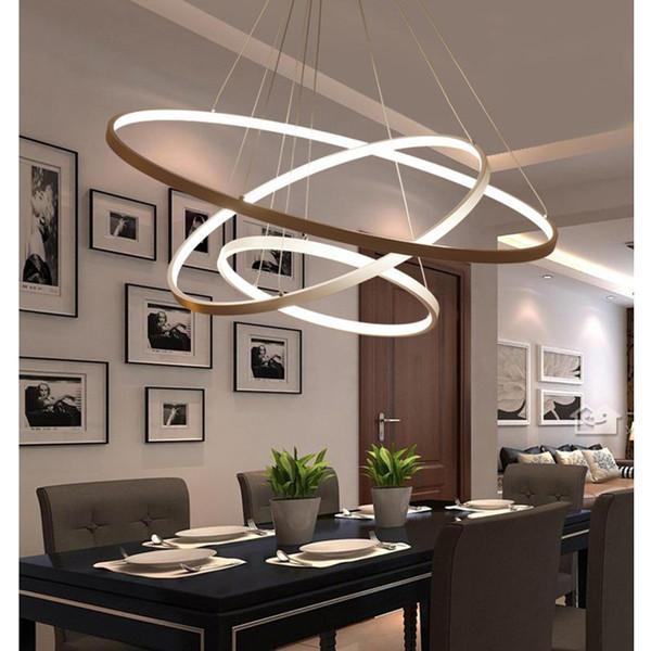 Compre Luces Colgantes Modernas Para Comedor 3/2/1 Anillos Circulares  Cuerpo De Aluminio Acrílico Iluminación LED Plafones De Lámparas A $129.65  Del ...