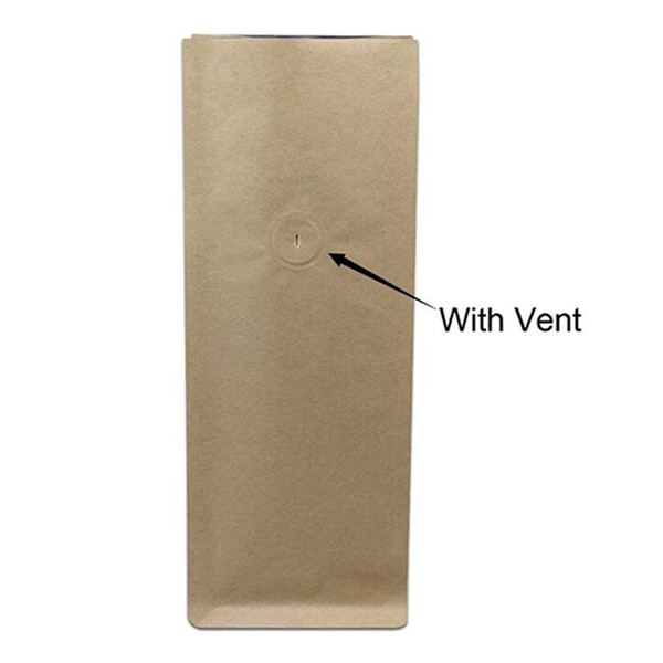 20pcs/Lot Brown Open Top Doypack Heat Seal Kraft Paper Valve Package Organ Bag For Coffee Beans Storage Packing Bellows Pocket