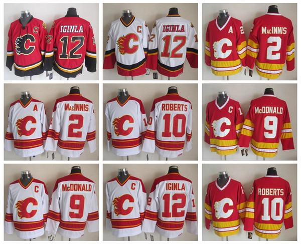 Men 12 Jarome Iginla Jersey Calgary Flames 2 Al Macinnis 9 Lanny McDonald 10 Gary Roberts Vintage CCM Stitched Hockey Jerseys
