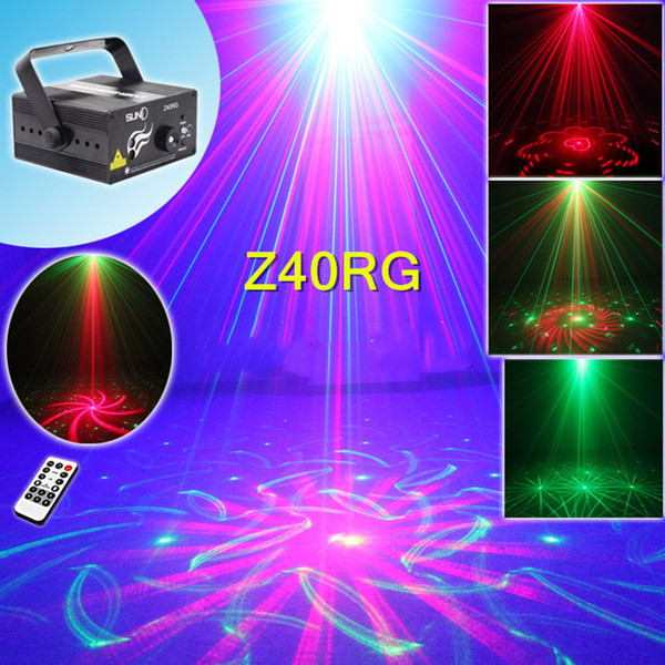 Stage Laser Projector Lights Mini Portable IR Remote R&G 40 Patterns LED DJ KTV Home Xmas Party Dsico Show Stage Lighting Z40RG