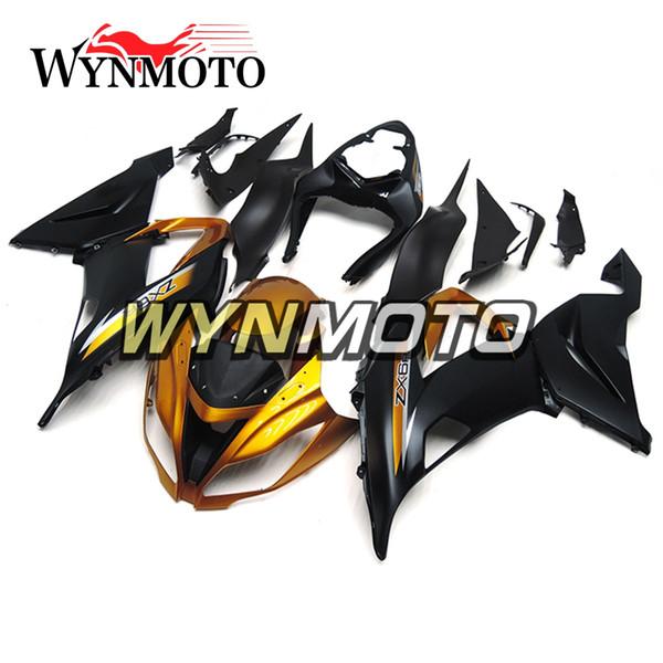 Volle Verkleidungen für Kawasaki ZX-6R ZX6R 2013- 2016 13 14 15 16 Kunststoffeinspritzung Motorrad Verkleidung Kit ABS Karosserie Gold Schwarz Hulls Abdeckungen