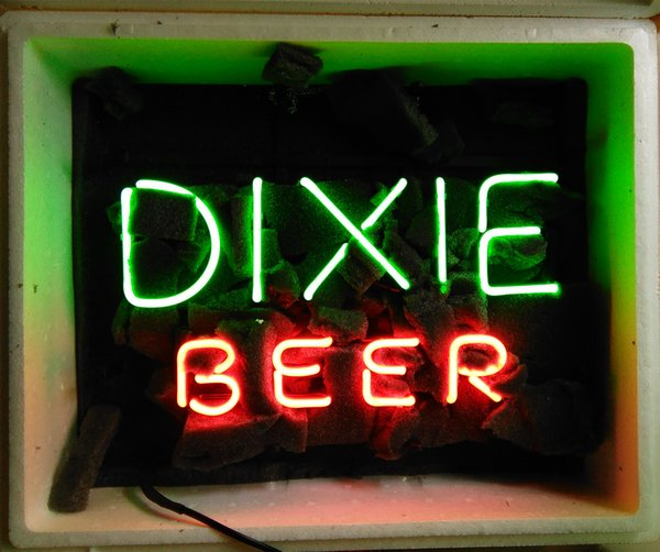 """17""""x14"""" DIXIE BEER CUSTOM REAL GLASS TUBE NEON LIGHT BEER BAR PUB CLUB STORE DISPLAY SIGN"""