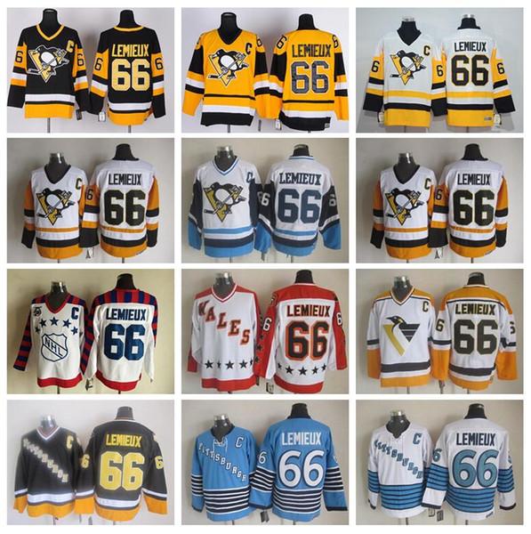 66 Mario Lemieux Trikot Herren Pittsburgh Penguins Eishockey Mario Lemieux Vintage Trikots CCM All Stitched Schwarz Weiß Gelb Blau
