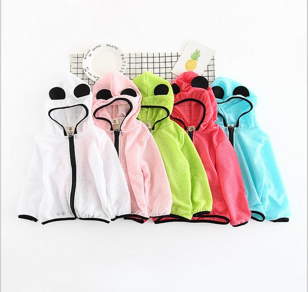 Wholesale kids sun protection clothing 2017 new summer beach outerwear zipper hoodies jackets coats for girls and boys 5 colors