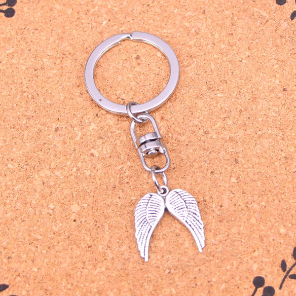 New Fashion beautiful angel wings Keychains Antique Silver plated Keyholder fashion Solid Pendant Keyring gift
