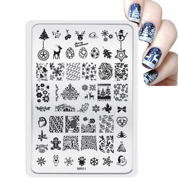 Big Mr Style Christmas Decorations Nail Stamping Plates Konad ...