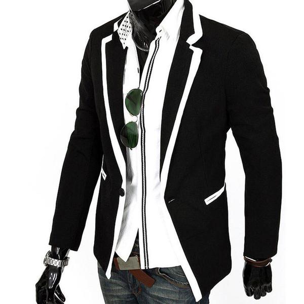 Оптовая торговля-горячая тенденция мужская одежда человек мода корейский стиль slim fit костюм пальто мужчины повседневная одна кнопка костюм