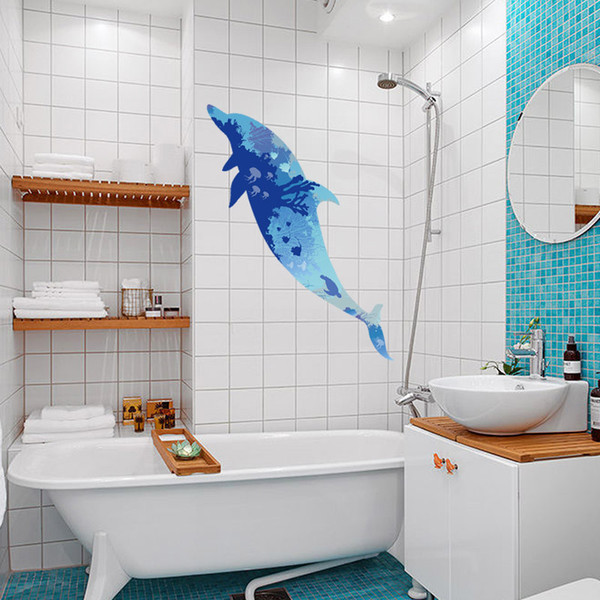 3D Dolphin Silhouette Wall Stickers For Kids Rooms Baby Bedroom Bathroom Toilet WC Children Decals Home Decoration