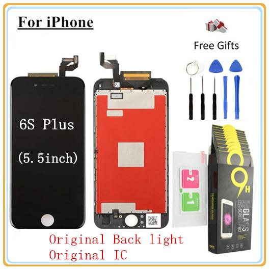 1Pcs For iPhone 6s Plus (5.5 inch) LCD Display Touch Screen Digitizer Full Assembly & Toughened glass protective film & Open Tool