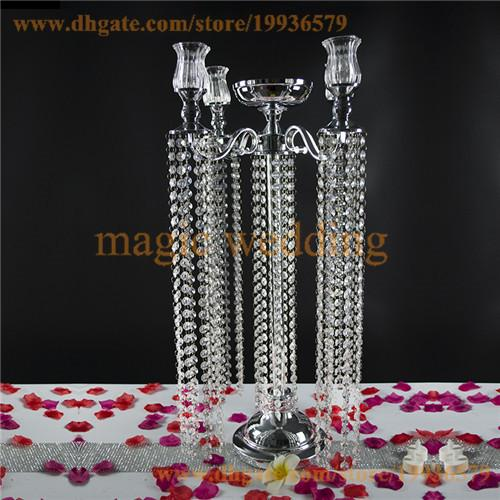 5 Arm Glass Candlestick Votive Candle Holder with Acrylic Crystal Bead Garland Diamond Strand