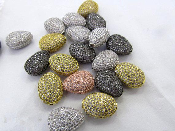12pcs Dimond Style Micro Pave Cubic Zirconia Bead-Teardrop Oval Round Beads-Large micro pave CZ Spacer Bead-Diamond 10-14mm