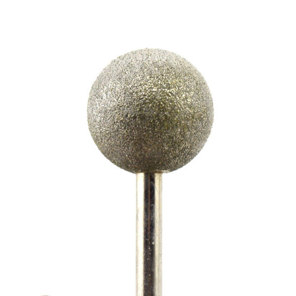 """Diamond Coated 28mm 1-1/8"""" Dia Spherical Head Mounted Points Round Ball Grinding Bit Cutting Burs Shank 6mm Grit 80 Coarse Gems"""