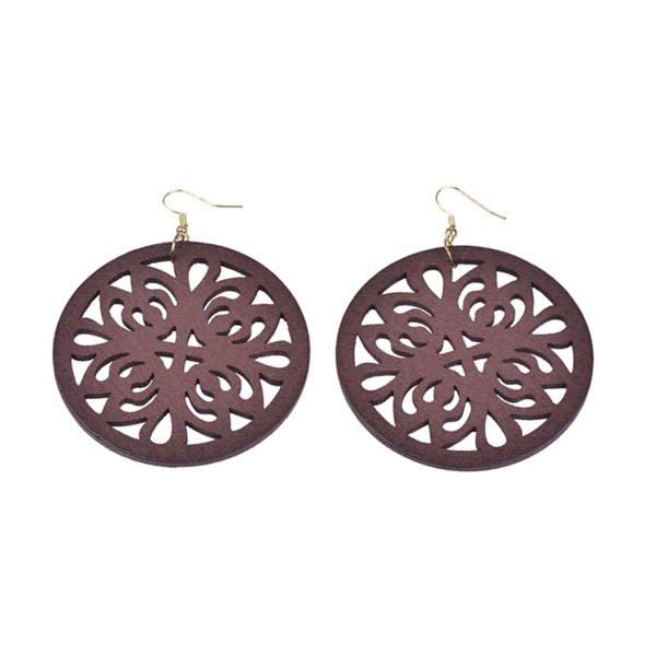 Neuer heißer Verkaufs-chinesische einfache Art-tiefe Brown aushöhlen runder Baumeln-Ohrring für Frauen-traditionelle hölzerne Tropfen-Ohrringe EH0109