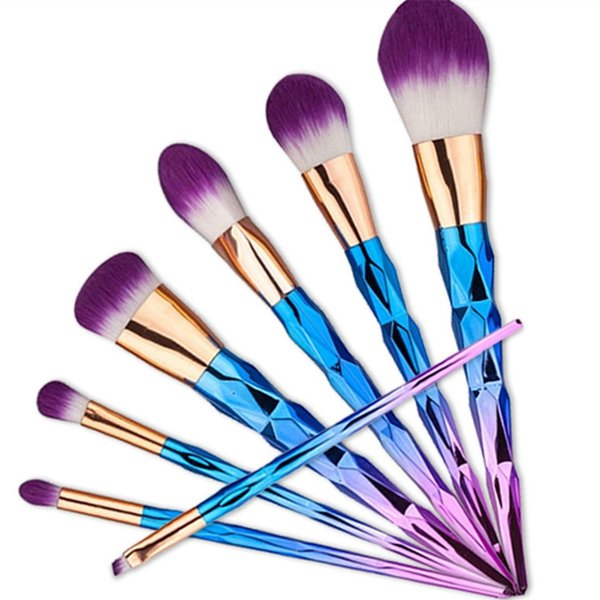 7 PCS Diamond makeup brushes colorful make up brush nylon wool makeup brush makeup tools 2 color Gold Purple free shipping