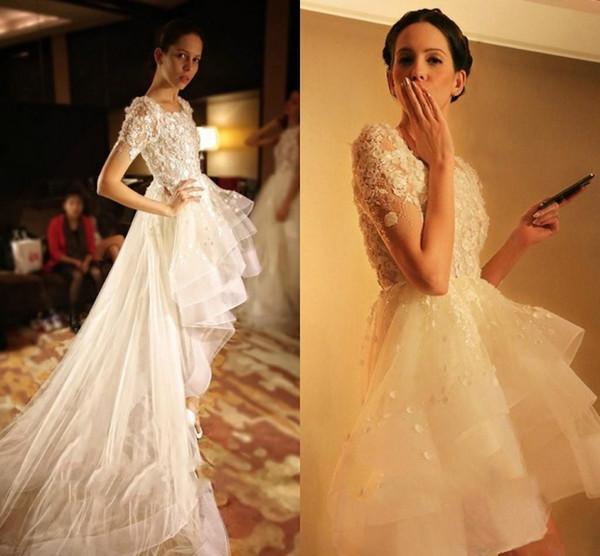 China Long Sleeves Wedding Dress Custom Made Lace Princess Bridal