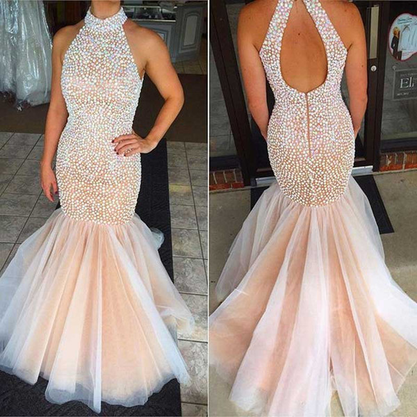 Real Luxury Pearl Champagne Colored Prom Dresses Mermaid 2017 Robe De Bal De Finissant Dress Party Evening Turkish Long Evening Gowns