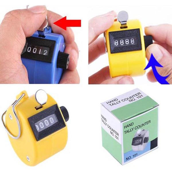 Contatore manuale portatile del contatore di golf del contatore della mano del contatore della mano del dito all'ingrosso di 4 cifre contatore digitale 50pcs / lot