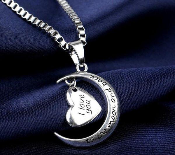 Carta de plata Crescent Moon Heart Charm Mujeres Te amo la luna y la espalda 925 Collar Colgante Joyería de moda para Lady Christmas Gift