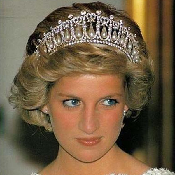 Classic Princess Diana Same Pearl Crown Crystal Tiara Bridal Jewelry Wedding Party Hair Accessory with Real Photo High Quality Free Shipping