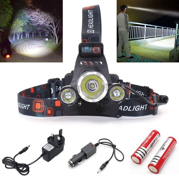Boruit RJ-3000 5000Lm Fishing Light 3x CREE XM-L T6 LED Headlamp Headlight Head Torches UK/US/AU/EU