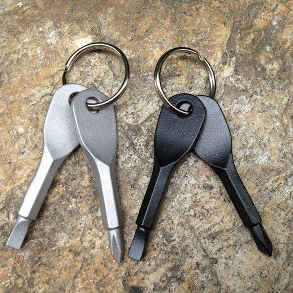 2pcs / set tournevis porte-clés EDC Set Outdoor Portable Mini Pocket Tool Set avec porte-clés