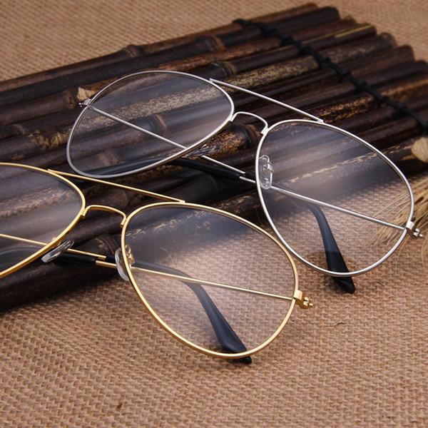 Atacado - Óculos claros Óculos de metal miopia de ouro Mulheres homens armações de óculos de armação de óculos ópticos lente transparente