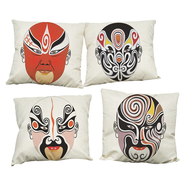 Peking Opera Facial Masks Linen Cushion Cover Home Office Sofa Square Pillow Case Decorative Cushion Covers Pillowcases Without Insert