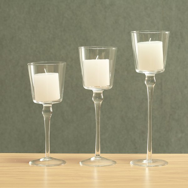 3 Tier Tabletop Glass Candelabra Good Quality Clear Glass Decorative Candle Holder,Votive Candlestick,Idea For Gift